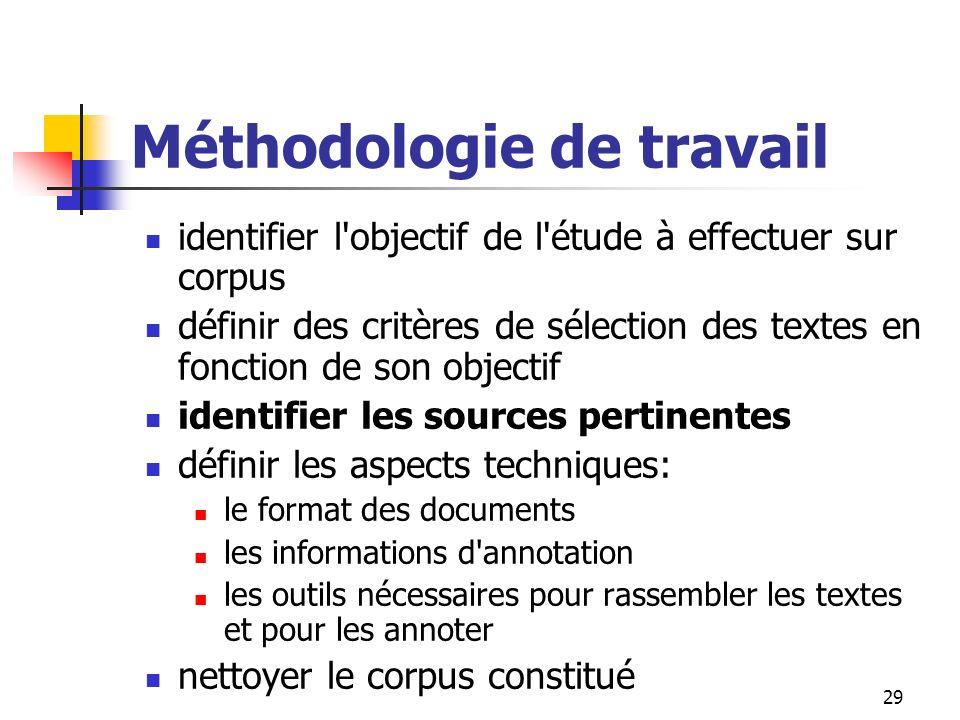 29 Méthodologie de travail identifier l'objectif de l'étude à effectuer sur corpus définir des critères de sélection des textes en fonction de son obj