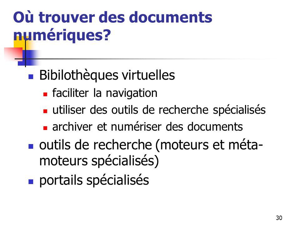 30 Où trouver des documents numériques? Bibilothèques virtuelles faciliter la navigation utiliser des outils de recherche spécialisés archiver et numé