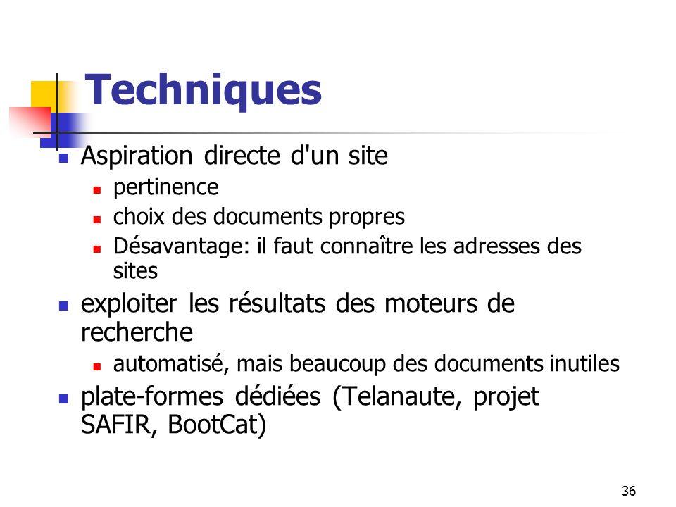 36 Techniques Aspiration directe d'un site pertinence choix des documents propres Désavantage: il faut connaître les adresses des sites exploiter les