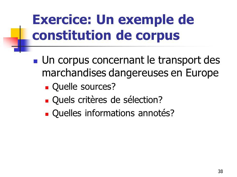 38 Exercice: Un exemple de constitution de corpus Un corpus concernant le transport des marchandises dangereuses en Europe Quelle sources? Quels critè