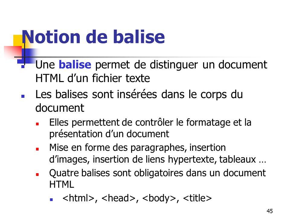 45 Notion de balise Une balise permet de distinguer un document HTML dun fichier texte Les balises sont insérées dans le corps du document Elles perme