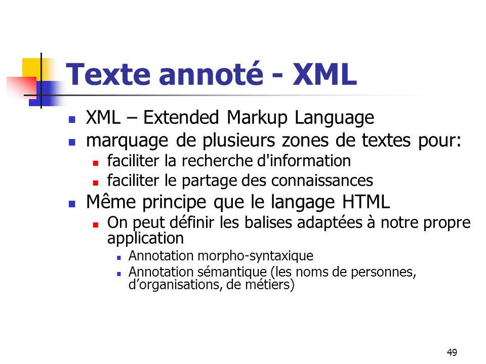 49 Texte annoté - XML XML – Extended Markup Language marquage de plusieurs zones de textes pour: faciliter la recherche d'information faciliter le par