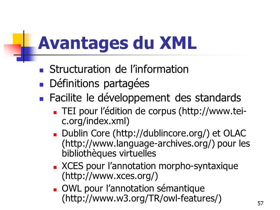 57 Avantages du XML Structuration de linformation Définitions partagées Facilite le développement des standards TEI pour lédition de corpus (http://ww