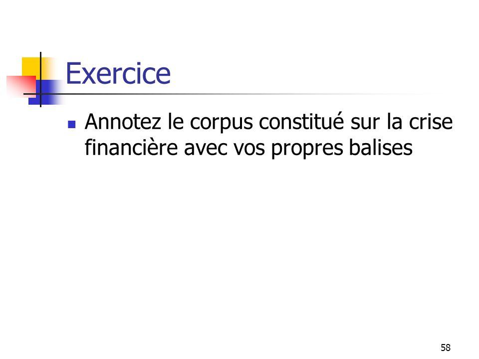 58 Exercice Annotez le corpus constitué sur la crise financière avec vos propres balises
