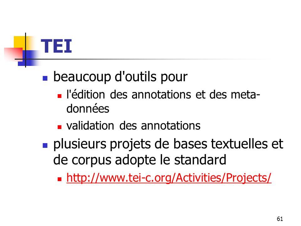 61 TEI beaucoup d'outils pour l'édition des annotations et des meta- données validation des annotations plusieurs projets de bases textuelles et de co