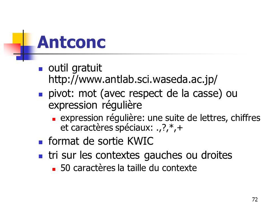 72 Antconc outil gratuit http://www.antlab.sci.waseda.ac.jp/ pivot: mot (avec respect de la casse) ou expression régulière expression régulière: une s