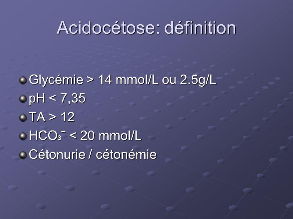 Cétonémie 3 mmol/L : Surveillance cétonémie toutes les heures Arrêt insuline IV si: - pH 7.3 - Cétonémie capillaire <1.0 mmol/L 2 fois à 1 heure dintervalle