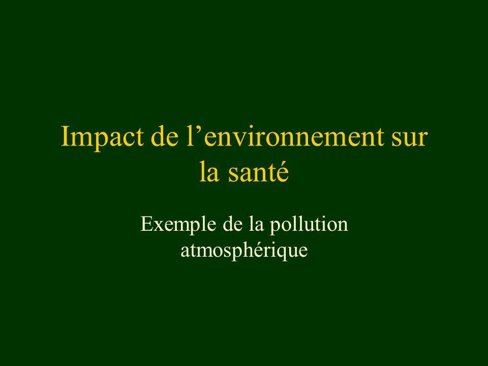 Impact de lenvironnement sur la santé Exemple de la pollution atmosphérique