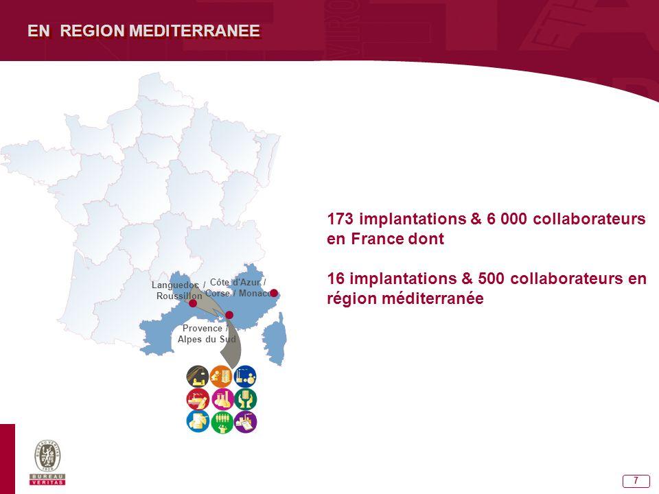 7 EN REGION MEDITERRANEE 173 implantations & 6 000 collaborateurs en France dont 16 implantations & 500 collaborateurs en région méditerranée Languedoc / Roussillon Provence / Alpes du Sud Côte d Azur / Corse / Monaco