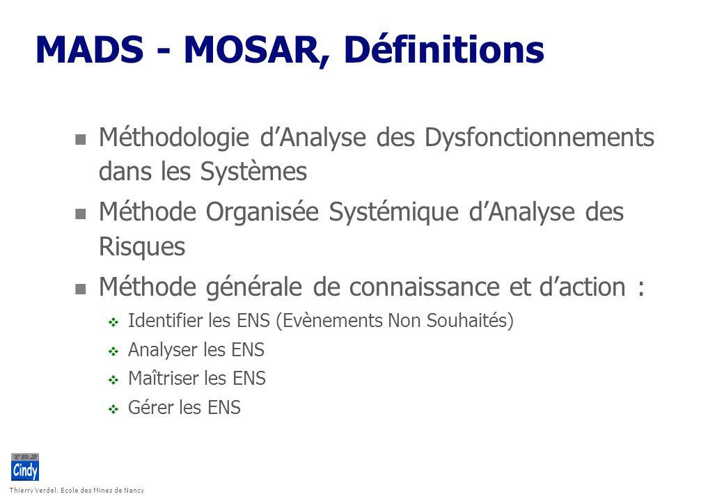 Thierry Verdel, Ecole des Mines de Nancy MADS - MOSAR, Définitions n Méthodologie dAnalyse des Dysfonctionnements dans les Systèmes n Méthode Organisé