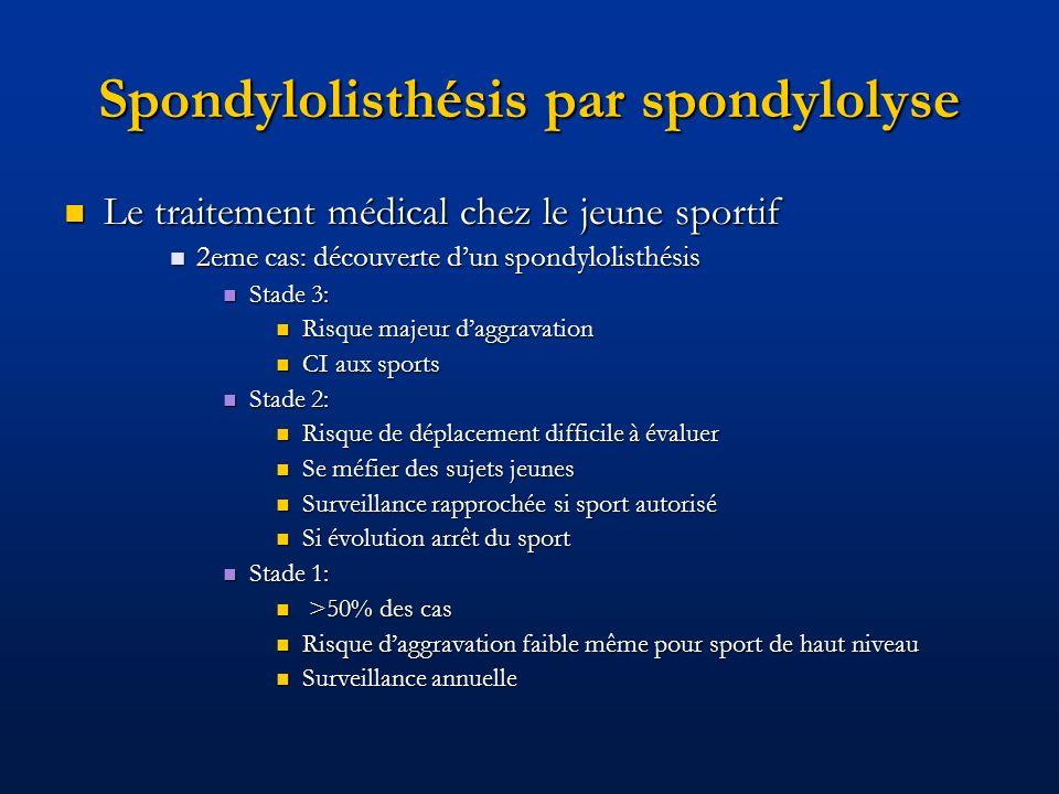 Spondylolisthésis par spondylolyse Le traitement médical chez le jeune sportif Le traitement médical chez le jeune sportif 2eme cas: découverte dun sp