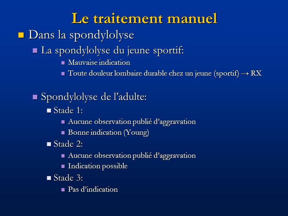 Le traitement manuel Dans la spondylolyse Dans la spondylolyse La spondylolyse du jeune sportif: La spondylolyse du jeune sportif: Mauvaise indication