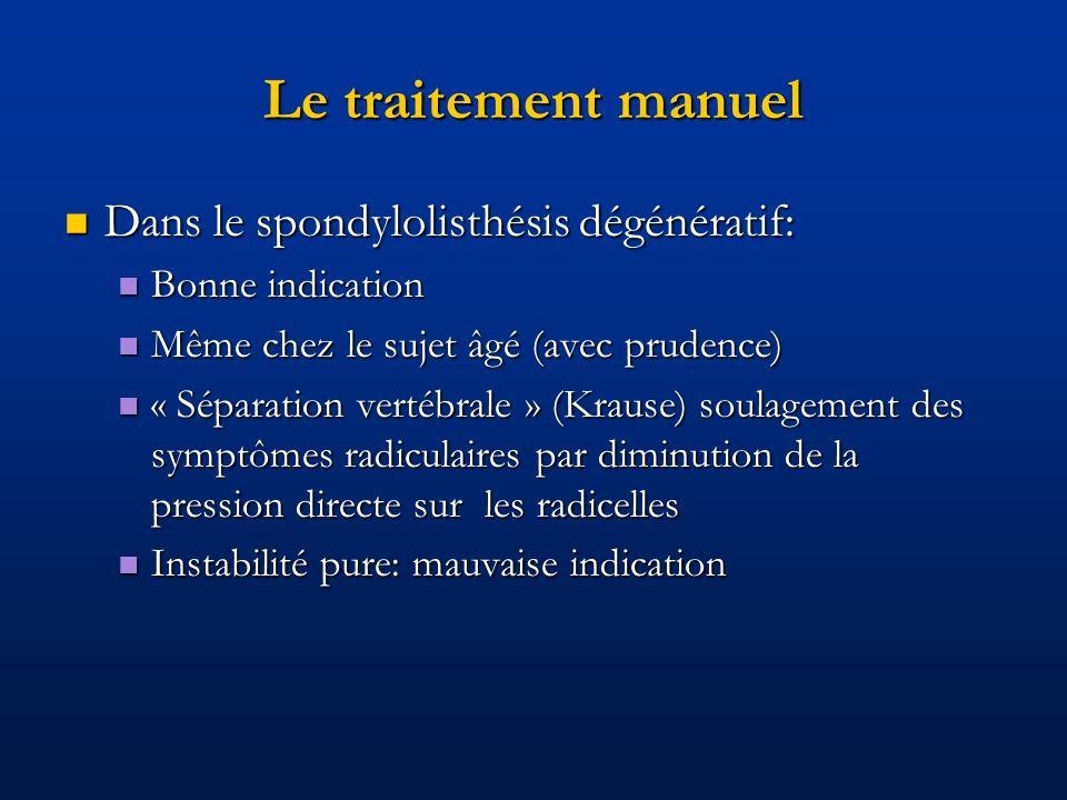 Le traitement manuel Dans le spondylolisthésis dégénératif: Dans le spondylolisthésis dégénératif: Bonne indication Bonne indication Même chez le suje