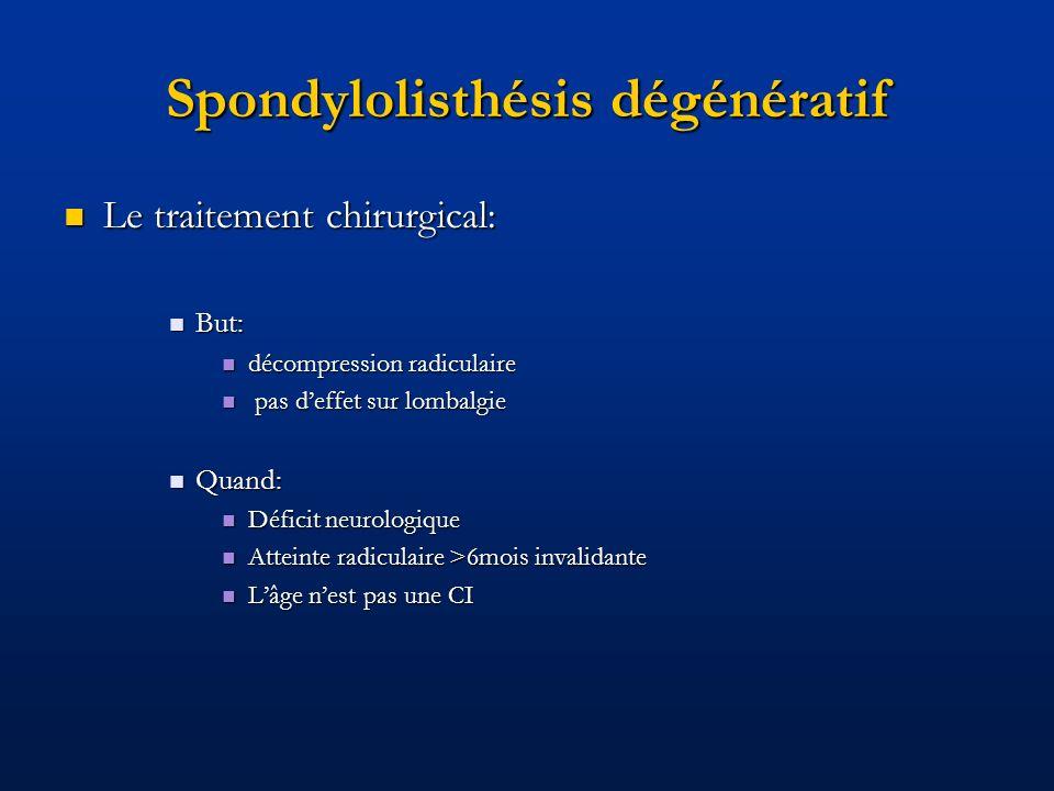Spondylolisthésis dégénératif Le traitement chirurgical: Le traitement chirurgical: But: But: décompression radiculaire décompression radiculaire pas