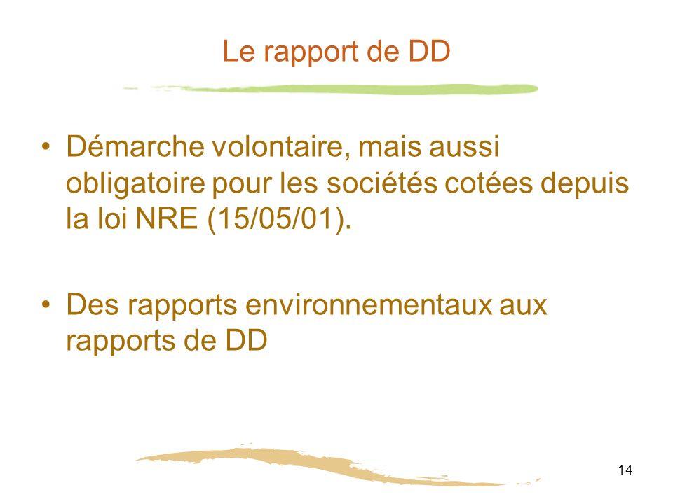 14 Le rapport de DD Démarche volontaire, mais aussi obligatoire pour les sociétés cotées depuis la loi NRE (15/05/01).