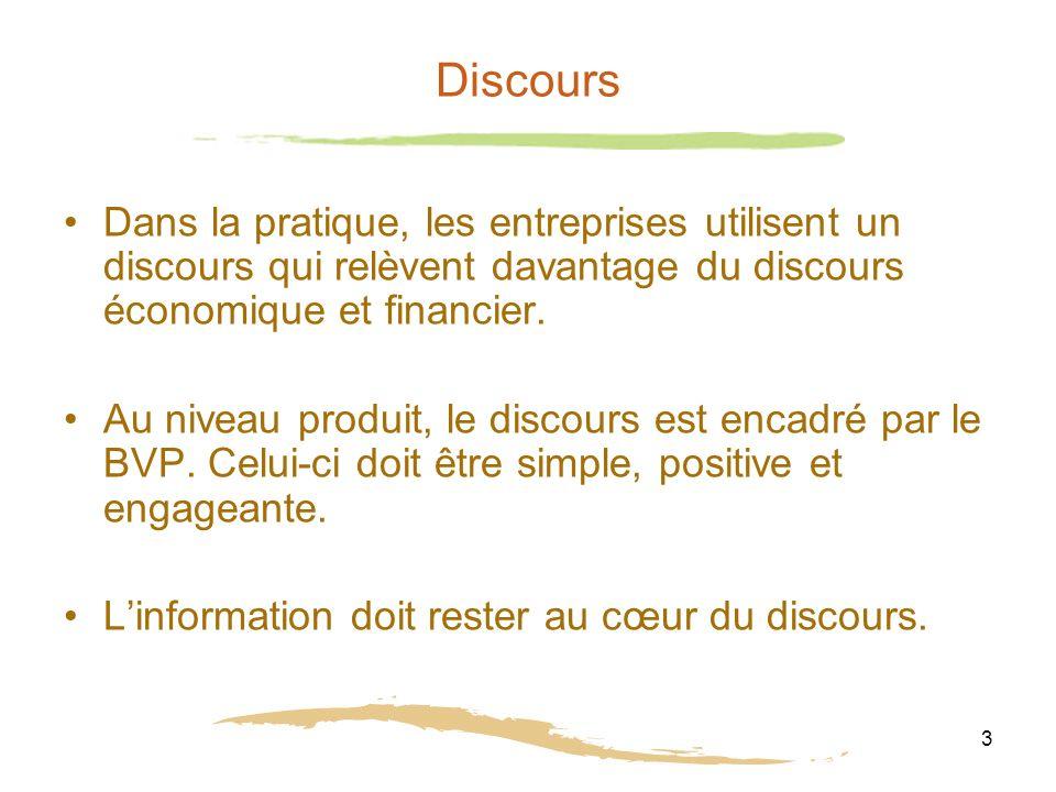 3 Discours Dans la pratique, les entreprises utilisent un discours qui relèvent davantage du discours économique et financier.