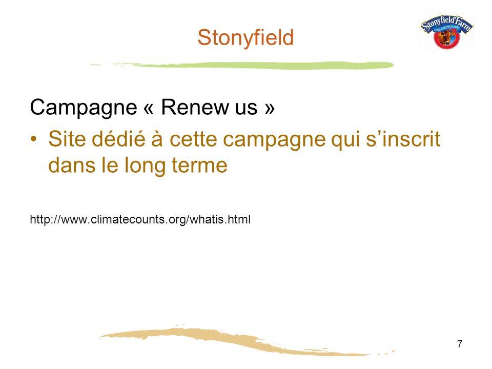 7 Stonyfield Campagne « Renew us » Site dédié à cette campagne qui sinscrit dans le long terme http://www.climatecounts.org/whatis.html