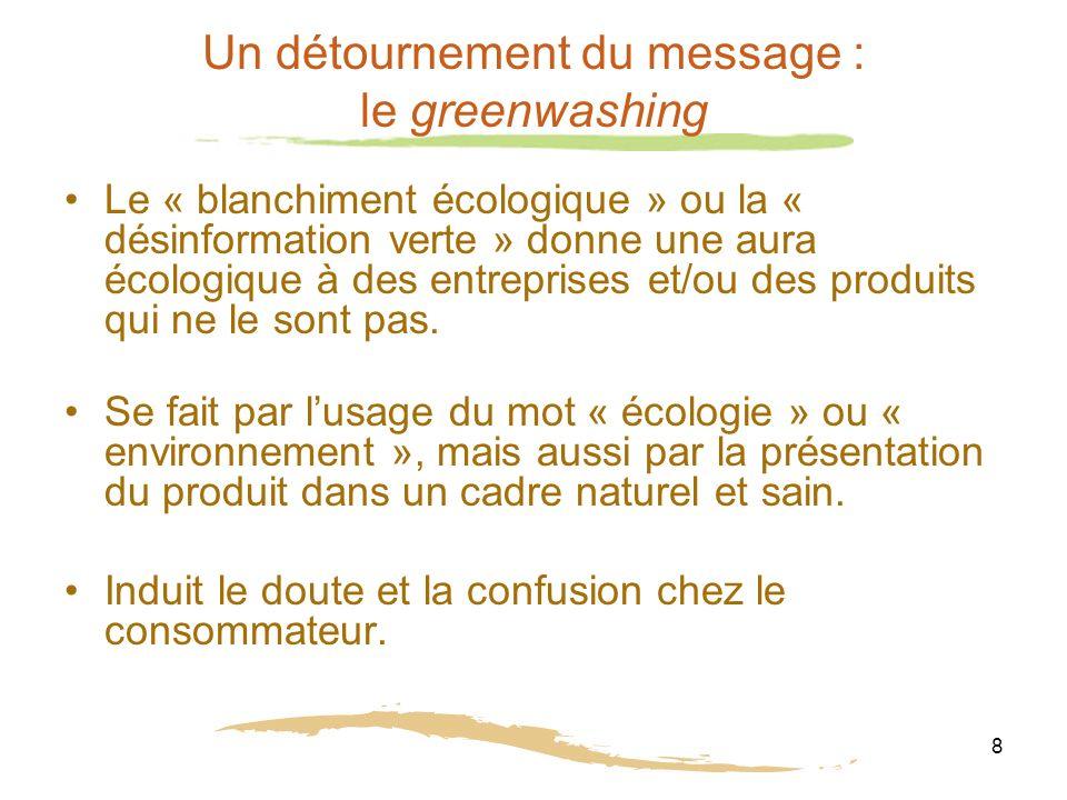 8 Un détournement du message : le greenwashing Le « blanchiment écologique » ou la « désinformation verte » donne une aura écologique à des entreprises et/ou des produits qui ne le sont pas.
