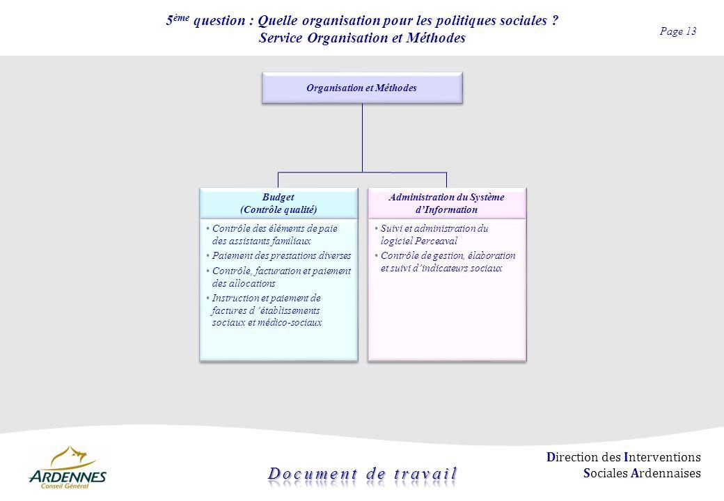 Page 13 Direction des Interventions Sociales Ardennaises 5 ème question : Quelle organisation pour les politiques sociales ? Service Organisation et M