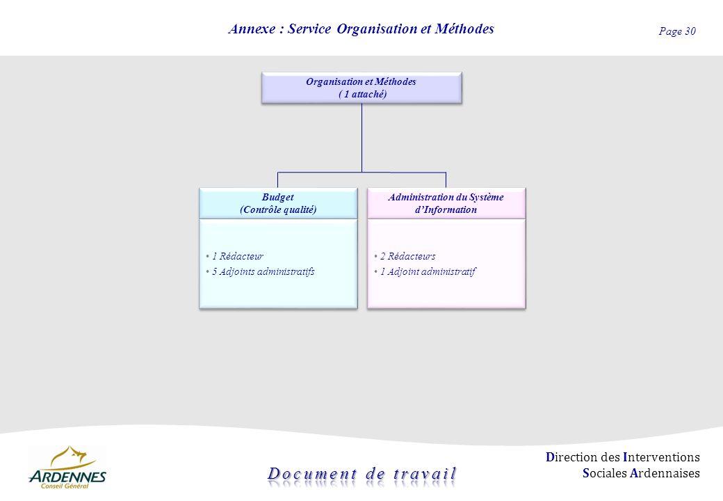 Page 30 Direction des Interventions Sociales Ardennaises Annexe : Service Organisation et Méthodes Organisation et Méthodes ( 1 attaché) Organisation