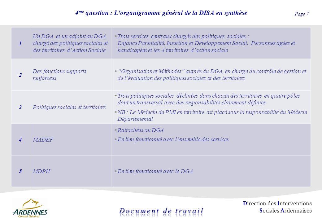 Page 7 Direction des Interventions Sociales Ardennaises 4 me question : L'organigramme général de la DISA en synthèse 1 Un DGA et un adjoint au DGA ch