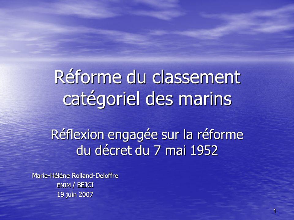 1 Réforme du classement catégoriel des marins Réflexion engagée sur la réforme du décret du 7 mai 1952 Marie-Hélène Rolland-Deloffre ENIM / BEJCI 19 j