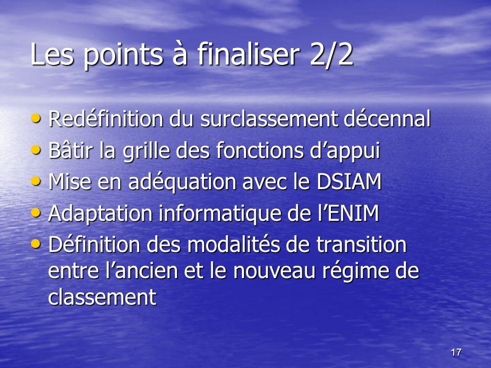 17 Les points à finaliser 2/2 Redéfinition du surclassement décennal Redéfinition du surclassement décennal Bâtir la grille des fonctions dappui Bâtir