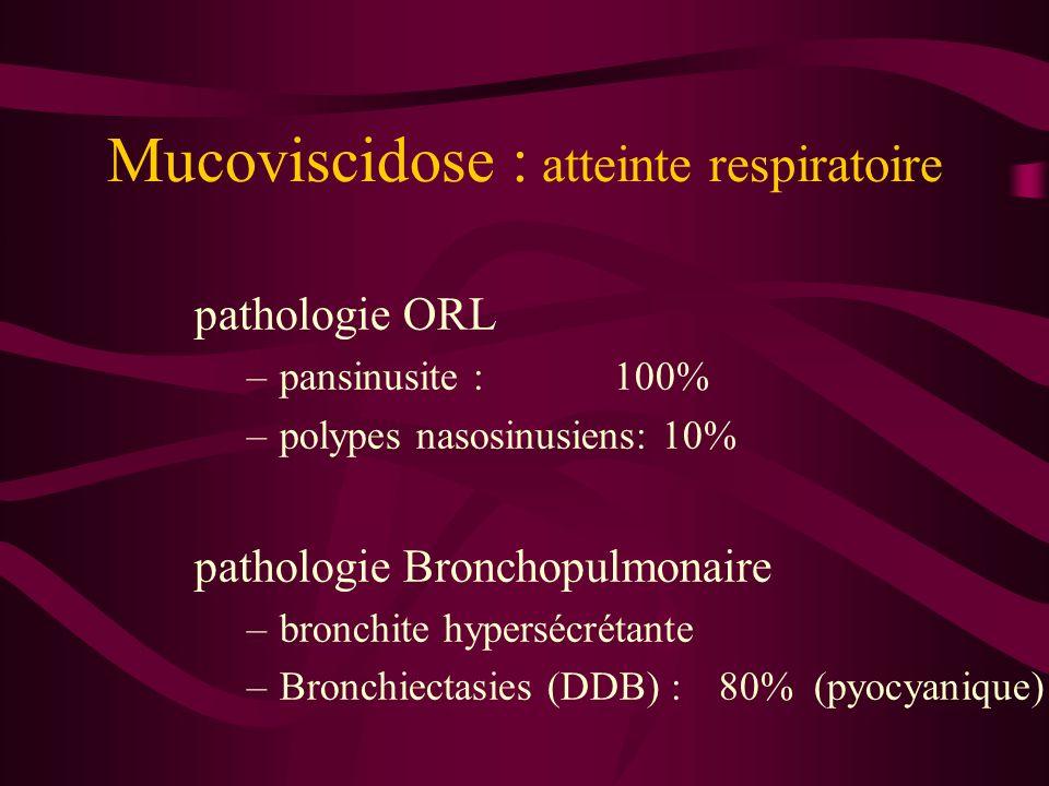 Mucoviscidose : atteinte respiratoire pathologie ORL –pansinusite : 100% –polypes nasosinusiens: 10% pathologie Bronchopulmonaire –bronchite hypersécr