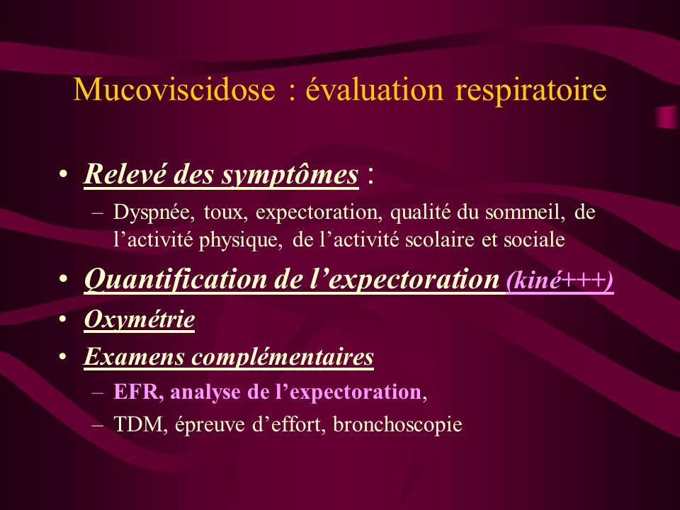 Mucoviscidose : évaluation respiratoire Relevé des symptômes : –Dyspnée, toux, expectoration, qualité du sommeil, de lactivité physique, de lactivité