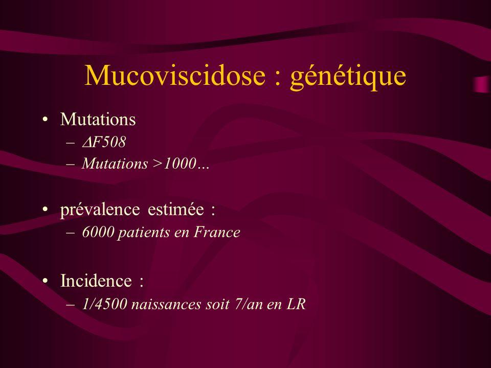 Mucoviscidose : génétique Mutations – F508 –Mutations >1000… prévalence estimée : –6000 patients en France Incidence : –1/4500 naissances soit 7/an en