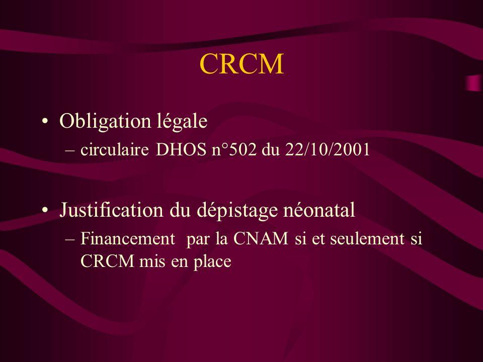 CRCM Obligation légale –circulaire DHOS n°502 du 22/10/2001 Justification du dépistage néonatal –Financement par la CNAM si et seulement si CRCM mis e