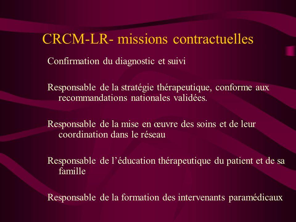 CRCM-LR- missions contractuelles Confirmation du diagnostic et suivi Responsable de la stratégie thérapeutique, conforme aux recommandations nationale