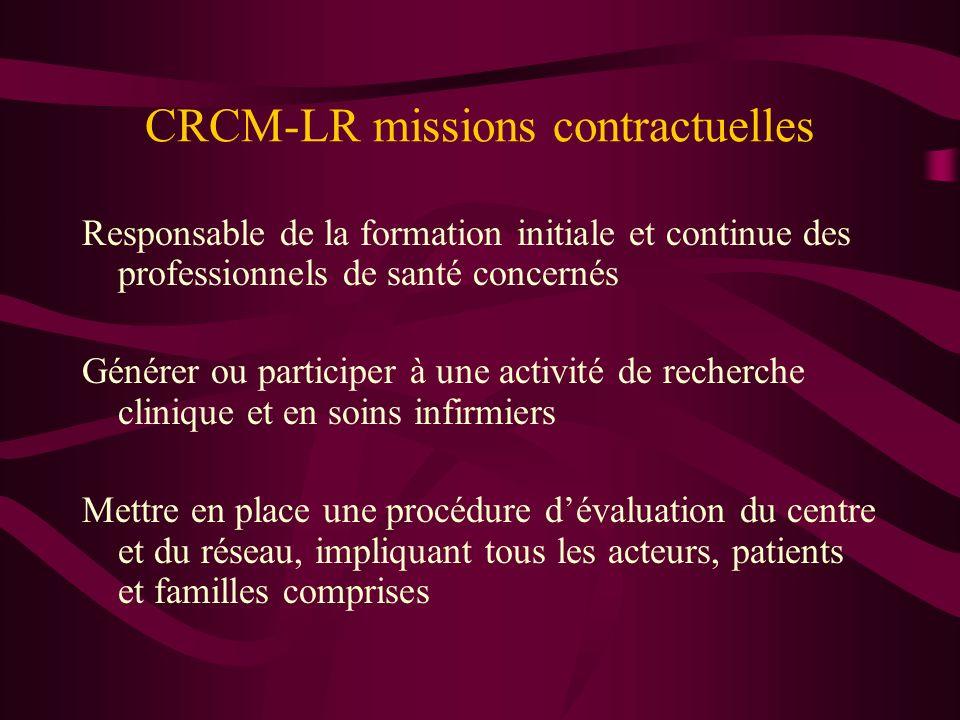 CRCM-LR missions contractuelles Responsable de la formation initiale et continue des professionnels de santé concernés Générer ou participer à une act