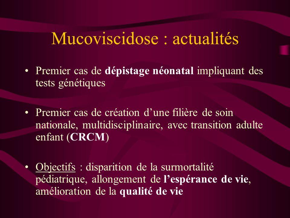 Mucoviscidose: problèmes courants de la prise en charge respiratoire Observance++++ Sous estimation de la bronchorrhée, de la dyspnée, de la surinfection Implantofix Aérosols Transplantation pulmonaire (VEMS < 30%) Apprentissage du drainage bronchique et des traitements inhalés par kiné+++