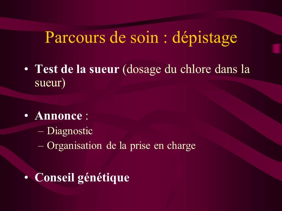 Parcours de soin : dépistage Test de la sueur (dosage du chlore dans la sueur) Annonce : –Diagnostic –Organisation de la prise en charge Conseil génét