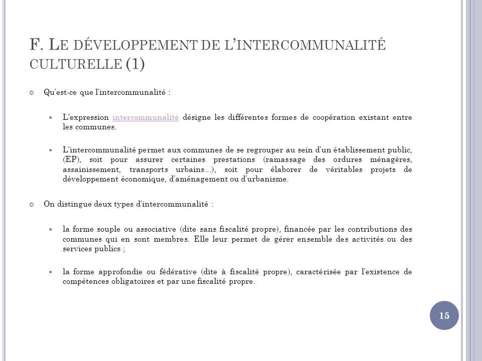 F. L E DÉVELOPPEMENT DE L INTERCOMMUNALITÉ CULTURELLE (1) Quest-ce que lintercommunalité : Lexpression intercommunalité désigne les différentes formes