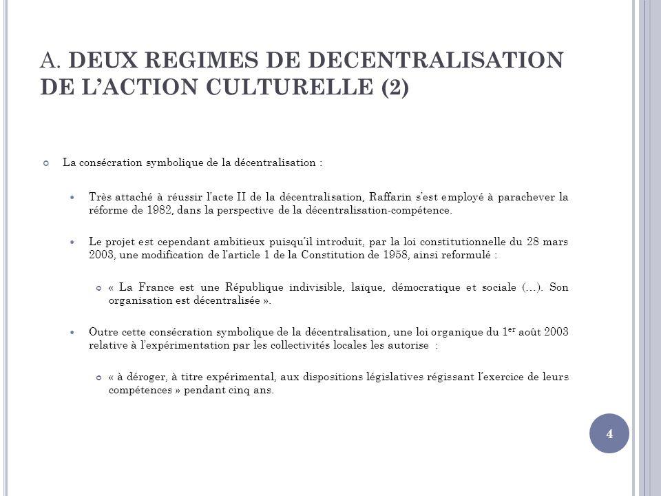 A. DEUX REGIMES DE DECENTRALISATION DE LACTION CULTURELLE (2) La consécration symbolique de la décentralisation : Très attaché à réussir lacte II de l