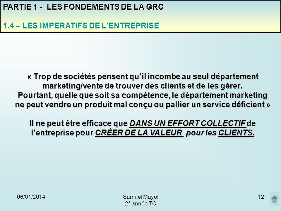 06/01/201412 PARTIE 1 - L ES FONDEMENTS DE LA GRC 1.4 – LES IMPERATIFS DE LENTREPRISE « Trop de sociétés pensent quil incombe au seul département mark
