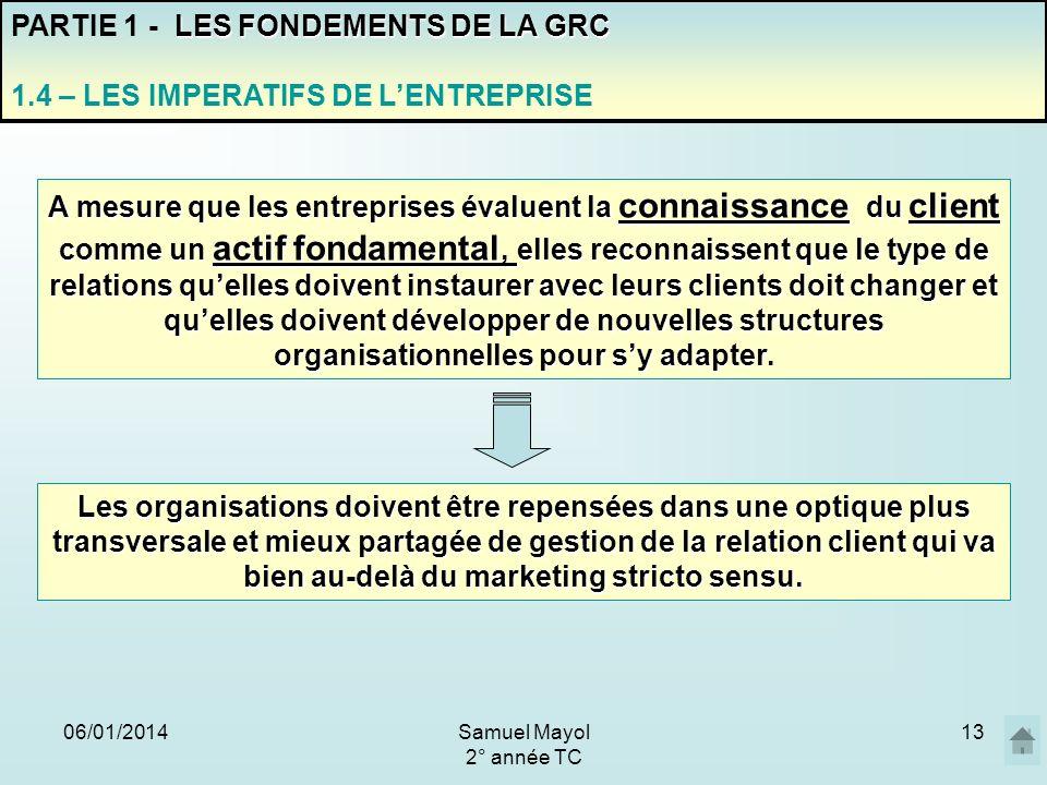 06/01/201413 PARTIE 1 - L ES FONDEMENTS DE LA GRC 1.4 – LES IMPERATIFS DE LENTREPRISE A mesure que les entreprises évaluent la connaissance du client