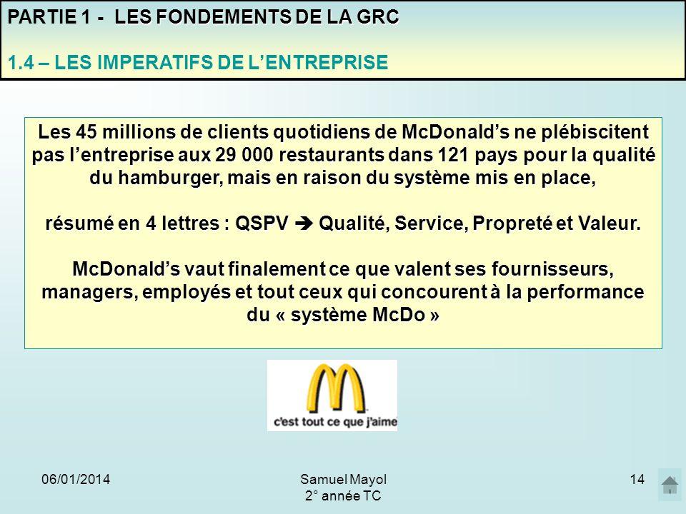 06/01/201414 PARTIE 1 - L ES FONDEMENTS DE LA GRC 1.4 – LES IMPERATIFS DE LENTREPRISE Les 45 millions de clients quotidiens de McDonalds ne plébiscite