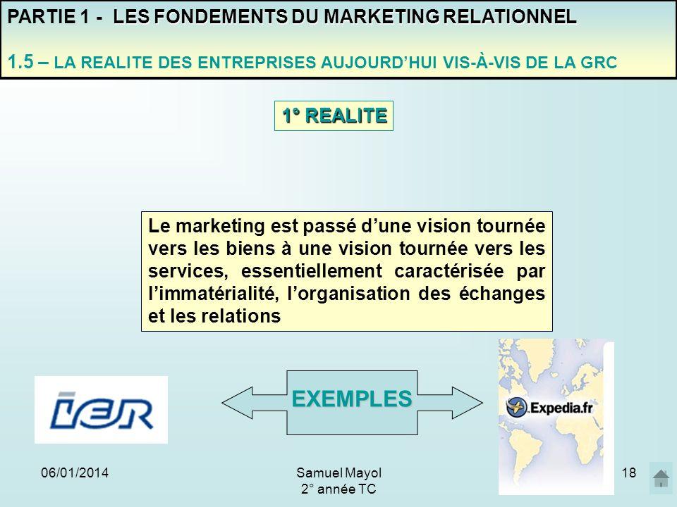 06/01/201418 PARTIE 1 - L ES FONDEMENTS DU MARKETING RELATIONNEL 1.5 – LA REALITE DES ENTREPRISES AUJOURDHUI VIS-À-VIS DE LA GRC Le marketing est pass