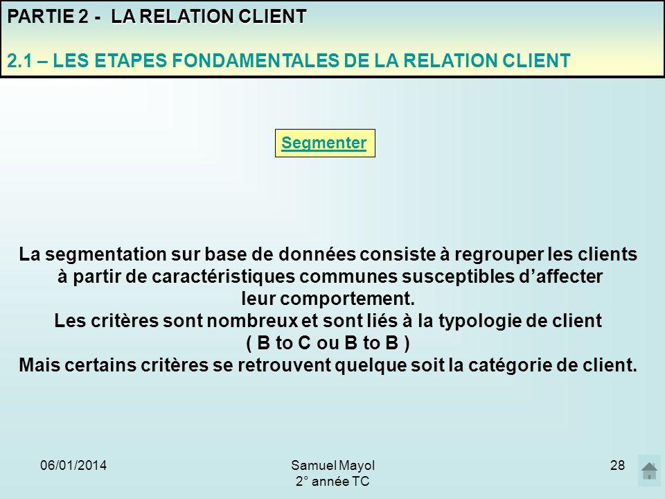 06/01/201428 PARTIE 2 - L A RELATION CLIENT 2.1 – LES ETAPES FONDAMENTALES DE LA RELATION CLIENT Segmenter La segmentation sur base de données consist