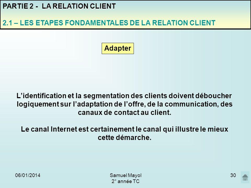 06/01/201430 PARTIE 2 - L A RELATION CLIENT 2.1 – LES ETAPES FONDAMENTALES DE LA RELATION CLIENT Adapter Lidentification et la segmentation des client