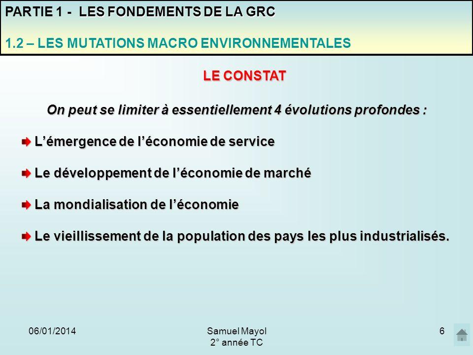 06/01/20146 On peut se limiter à essentiellement 4 évolutions profondes : Lémergence de léconomie de service Lémergence de léconomie de service Le dév