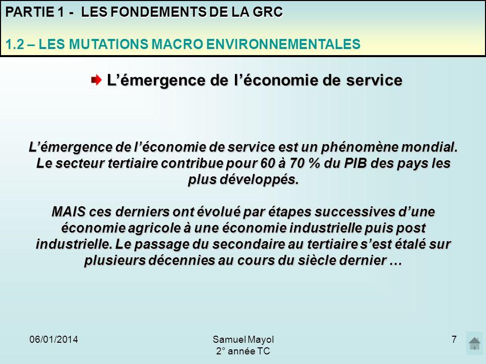 06/01/20147 Lémergence de léconomie de service Lémergence de léconomie de service est un phénomène mondial. Le secteur tertiaire contribue pour 60 à 7