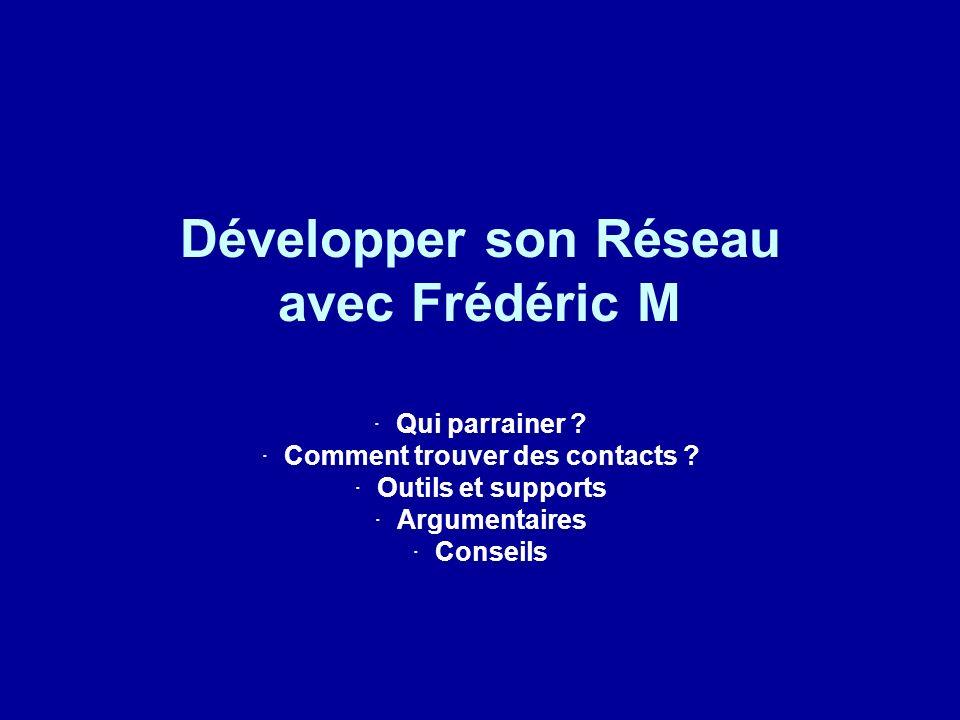 Développer son Réseau avec Frédéric M · Qui parrainer ? · Comment trouver des contacts ? · Outils et supports · Argumentaires · Conseils