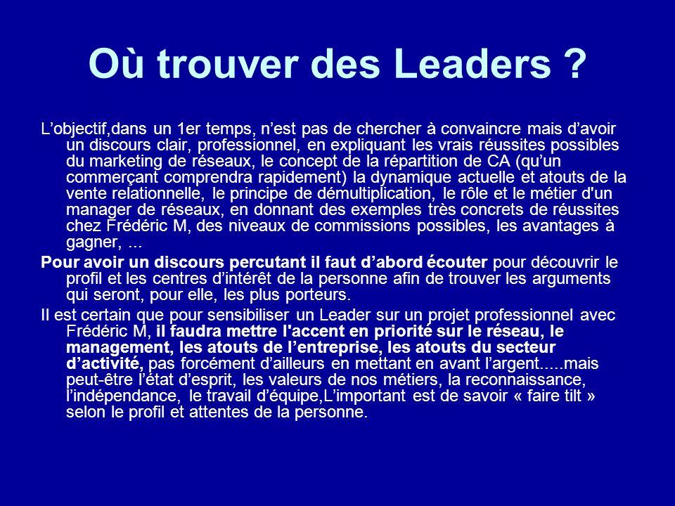 Où trouver des Leaders ? Lobjectif,dans un 1er temps, nest pas de chercher à convaincre mais davoir un discours clair, professionnel, en expliquant le