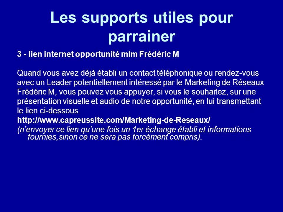Les supports utiles pour parrainer 3 - lien internet opportunité mlm Frédéric M Quand vous avez déjà établi un contact téléphonique ou rendez-vous ave
