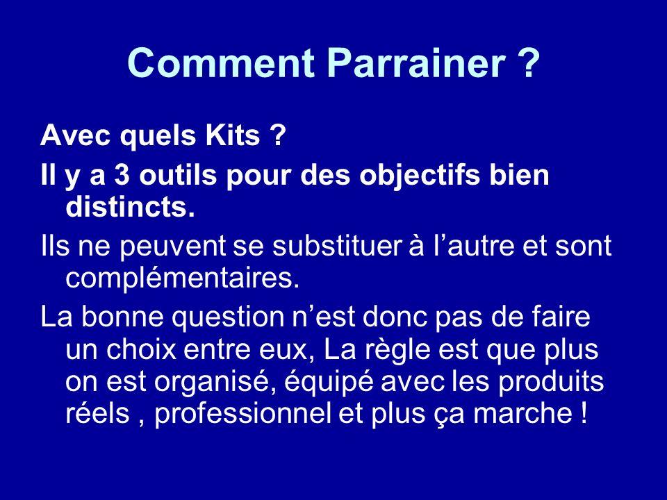 Comment Parrainer ? Avec quels Kits ? Il y a 3 outils pour des objectifs bien distincts. Ils ne peuvent se substituer à lautre et sont complémentaires