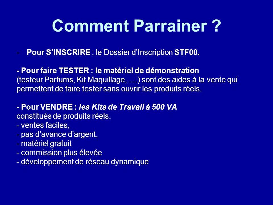 Comment Parrainer ? -P-Pour SINSCRIRE : le Dossier dInscription STF00. - Pour faire TESTER : le matériel de démonstration (testeur Parfums, Kit Maquil